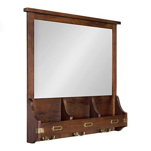 Kate and Laurel Stallard Decorative Wood Home Wall Organizer Mirror with Pockets and Key Hooks, Walnut Brown