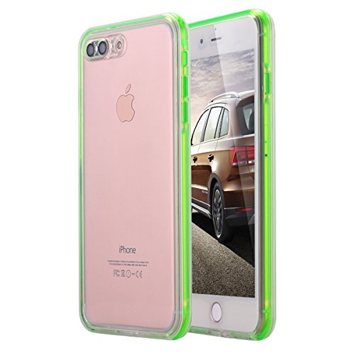 iPhone 8 Plus/iPhone 7 Plus Waterproof Case, LONTECT Crystal Clear Ultra Slim Underwater 360 Full Body Protective Case Dust Proof Snowproof Shockproof Cover for Apple iPhone 8 Plus/7 Plus - Green