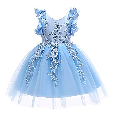 Weileenice 1-12T Big/Little Girl Flower Lace Christmas Dresses Birthday Tulle Dress for Communion Party Wedding (8-9Years, Blue)