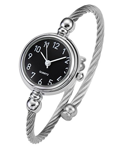 Top Plaza Womens Fashion Silver Tone Analog Quartz Bangle Cuff Bracelet Wrist Watch, Unique Elegant Stainless Steel Wire Band, Arabic Numerals - Black