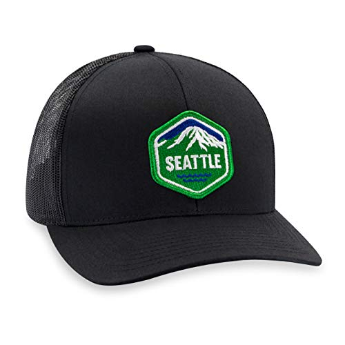 Seattle Hat - Washington Trucker Hat Baseball Cap Snapback Golf Hat (Black)