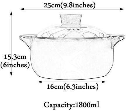 LIUSHI Pot en Terre Cuite Pot en Terre Cuite Casserole en céramique - résistance au Stockage de Chaleur Froide et Chaleur et capacité permanente d'économie d'énergie 1800ml_Yellow