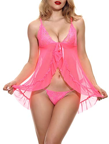 noabat Babydolls Sexy Lingerie for Women Lace Chemise Mesh Sleepwear Rosy Pink X-Large