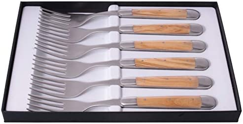 Stainless 6 Parts Forge de Laguiole Table Forks Olive Wood