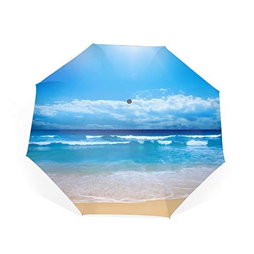 Earth Beach Sun Blue Wave Sky Cloud Sand Travel Umbrella,Compact 46 Inch Rain Umbrella for Men Women, Auto Open Close