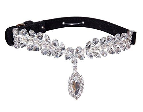 EXPAWLORER Black Small Fashion Jeweled Diamante Dog Cat Puppy Collars Necklace Style