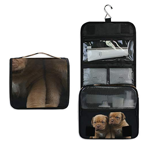 DoubleCW Dogue Bordeaux Puppies Hanging Toiletry Bag, Travel Organizer Cosmetic Wash Make Up Bag Case for Women Men Toiletry Kit Cosmetic Bag Travel Accessories