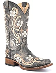 Corral Circle G Womens Honey Cowhide Cowgirl Boot Square Toe Honey 9 M US