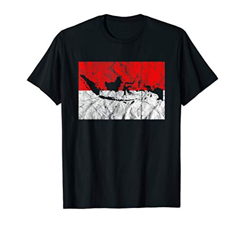 Indonesia T Shirt Indonesian Flag Map Silhouette Travel
