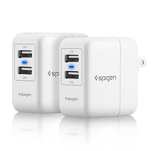 Spigen Essential F202 [2 Pack] USB Wall Charger 2-Port 4.8 Amp USB Travel Charger Folding Plug for iPhone X / 8/8...