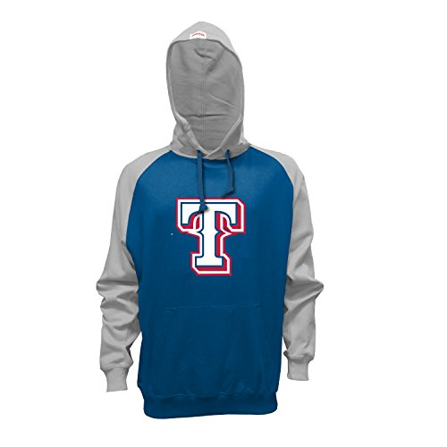 MLB Texas Rangers Men's Pullover Hoodie, Medium, Royal/Gray