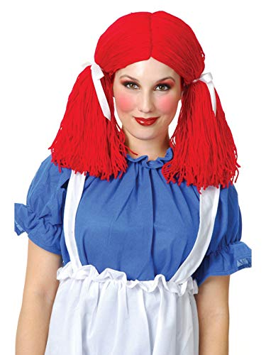 Charades Women's Rag Doll Wig, red One Size -