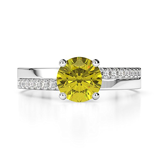 Or blanc 18 carats 1.04 CT G-H/VS sertie de diamants ronds Cut Saphir Jaune et bague de fiançailles Agdr-1206