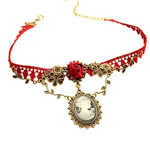 Orcbee Cameo Red Rose Lace Fashion Necklace Jewelry Gift for Women