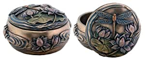 "Art Nouveau Dragonfly Decorative Box (Dia: 4.25"" x W: 4.25"" x H: 2"", 1.06 lbs.)"