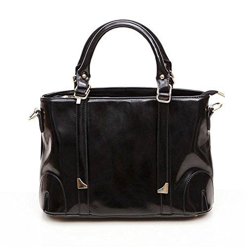 QCKJ-Borsa a spalla da donna, in ecopelle, con Zip Bandbag, colore: nero