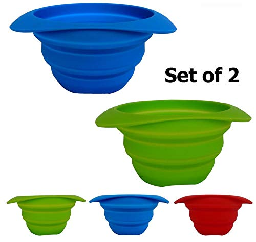 AVALEISURE Collapsible Bowl Set - 25 fl.oz/750ml - for Camping, RV, Backpacking, Travel - Space-Saving Dog Food & Water Bowl - Set of 2 Bowls Blue + Green