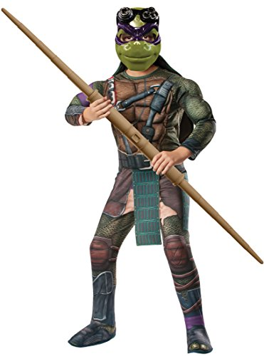 Rubies Teenage Mutant Ninja Turtles Deluxe Muscle-Chest Donatello Costume, Child (Ninja Turtle Halloween Costume Shell)