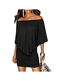 ADEWEL Women's Sexy Off Shoulder Multiple Dress Layered Party Cocktail Mini Dresses