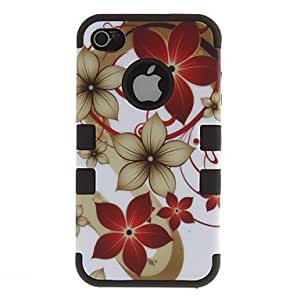 2-in-1 Design Flowers Pattern Protective Hard Case for iPhone 4/4S (Assorted Colors) --- COLOR:Black
