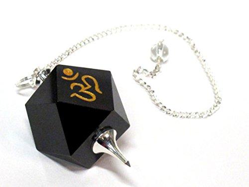1 pendant - Black agate multi faceted healing gemstone crystal Om pendulum pendant - PM542