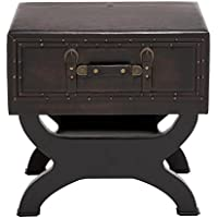 Deco 79 55744 Wood Leather End Table, 22 x 22, Black