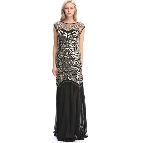 Pilot-trade Women's 1920s Long Prom Dresses Sequins Beaded Art Deco Gatsby Party Dress Gold L (Buy Flapper Dresses)
