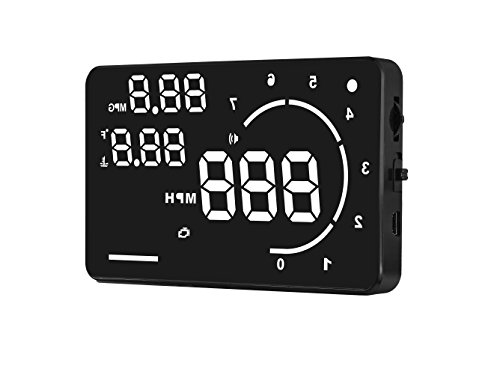 Head Up Display HUD by Frontier. Gas, Electronic and Hybrid car compatible. OBD2 Plug and Display, Instant MPG MPH,Speed Warning,Temperature color bar, 5.5 inch Multi-color screen,