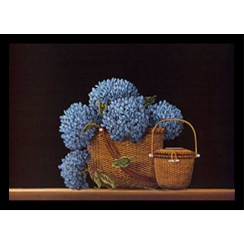 Buyartforless Framed Nantucket Blue by Robert Duff 24x17 Art Print Poster Still Life Painting Floral Blue Flowers in a Basket