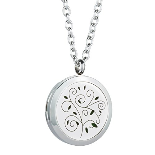 "Aromatherapy Essential Oil Diffuser Locket Pendant with Free 24"" Chain Necklace and 8 Felt Pads by (Locket Crucifix)"