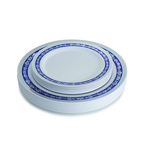 Posh Setting Royal Collection White Plastic Plates With Silver & Royal Blue Plastic Plates Design (Includes 20 10.25'' Dinner Plates and 20 7.25'' Salad Plates) Fancy Disposable Dinnerware (Plates Plastic Blue Royal Dinner)