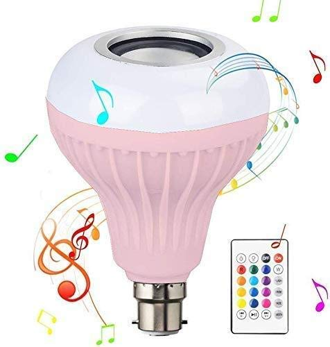 Evaahub B22 LED RGB Light Bulb with Bluetooth Speaker, White with Remote Control Music Dimmable for Home, Decoration DJ…