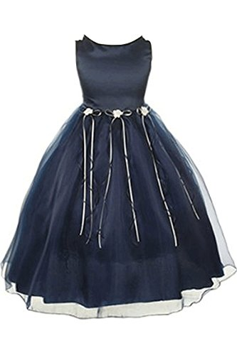 BNY Corner Rosebuds Ribbon Flower Girls Organza Dress Christmas Wedding Prom Navy Blue 2-14 -