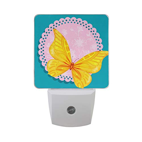 - Printing Butterfly Lotus Totem Patterns Night Light 2 Pack Plug in Auto on Off 0.5W LED Nightlight