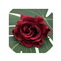 crystal004 30Pcs 10 cm Large Artificial Rose Silk Flower Heads for Wedding Decoration DIY Wreath Gift Box Scrapbooking Craft Fake Flowers,Deep Red