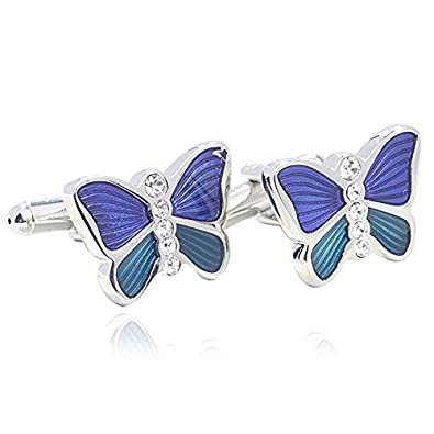 Blue Glazing Butterfly Shape 18K Platinum Plated Cufflinks for Men Shirt Fahion Cuff Buttons Chenghai cufflinks28