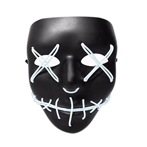 Light Up Purge Mask Stitched El Wire LED Halloween Rave Cosplay Props Supplies -
