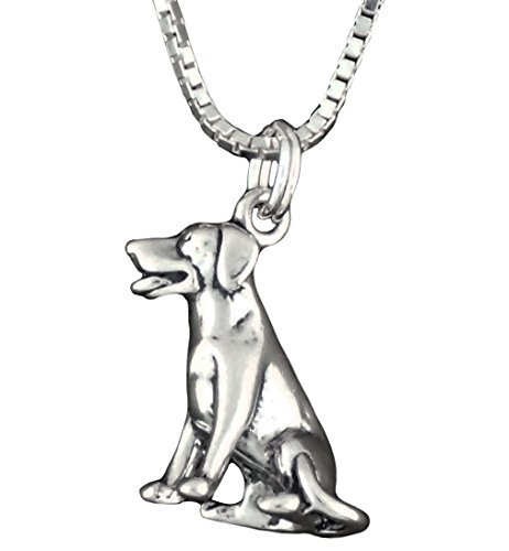 cm Sterling Silver Labrador Retriever Dog Pendant Necklace 18 Inch Chain