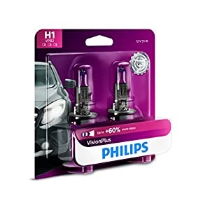 Philips H1 VisionPlus Upgrade Headlight Bulb, (Pack of 2)