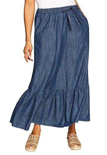 Plus Tiered Skirt - Women's Plus Size Chambray Drawstring Skirt