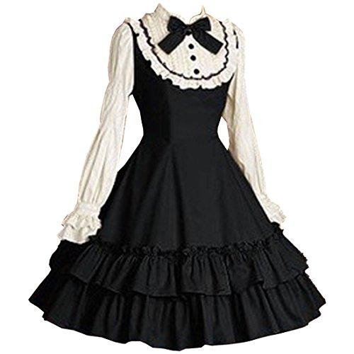 Partiss Women's Long Sleeves Bowknot Multi Layers Classic Sweet Lolita Dress, XL, Black White