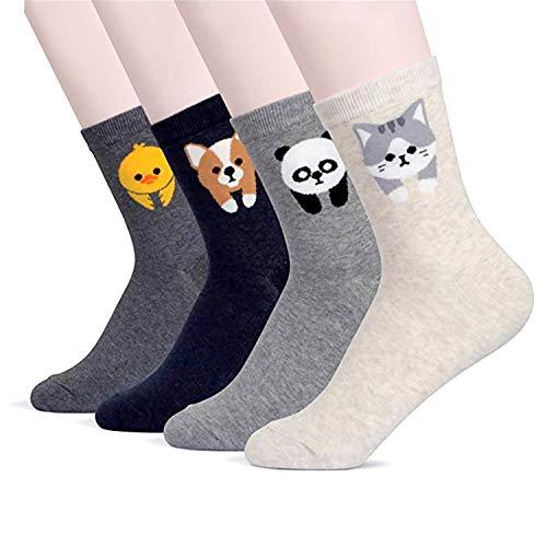 BALMOA Women Socks Gift Set - Animal Cat Dog Art Cartoon Character Funny | Gift Socks | Christmas Gifts for Women (Animal - Hip Bang 4pcs)