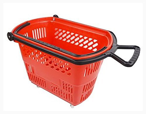 Rolling Plastic Shopping Baskets with Pull Handle Carton of 6 - Shopping Dfw