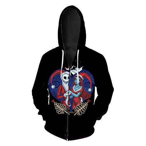 LeeQn Unisex Anime Cosplay 3D Pullover Print Hooded Sweatshirt Hoodie Coat Top Cremallera de impresión de Halloween S