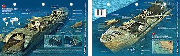 Innovative Scuba New Art to Media Underwater Waterproof 3D Dive Site Map - Thistlegorm Bow in the Red Sea, Egypt (8.5 x 5.5 Inches) (21.6 x 15cm)