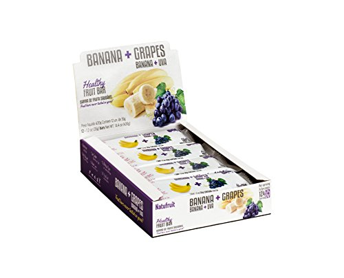 Banana + Grapes Healthy Fruit Bar Box Display 12 bars - 100% Real Fruit | Gluten Free | No Artificial Flavor | Low Sodium | High Potassium | Vegan | Kosher by Natufruit