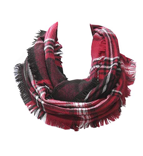 Lucky Leaf Women Winter Checked Pattern Cashmere Feel Warm Plaid Infinity Scarf (NEW-Black White Red) ()