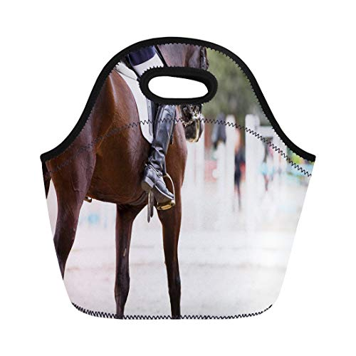 (Semtomn Lunch Bags Black Riding Horse Rider at Dressage Equestrian Sports Competitions Neoprene Lunch Bag Lunchbox Tote Bag Portable Picnic Bag Cooler Bag)