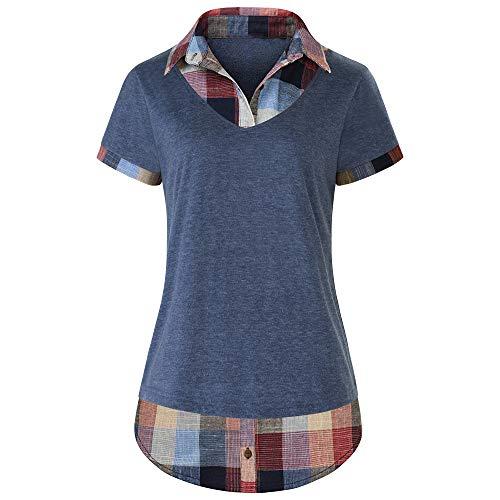 Women's Short Sleeve Top Contrast Collar Knitted Plaid T-Shirt ()