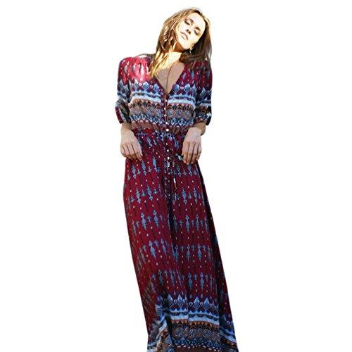 robe ALISIAM Summer vin Longue Du Bohme robe Floral Party Femmes Tunique Maxi Beach qvxwfnqpHT